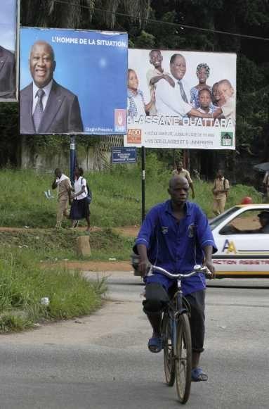 affiche d'Alassane Ouattara et Laurent Gbagbo-