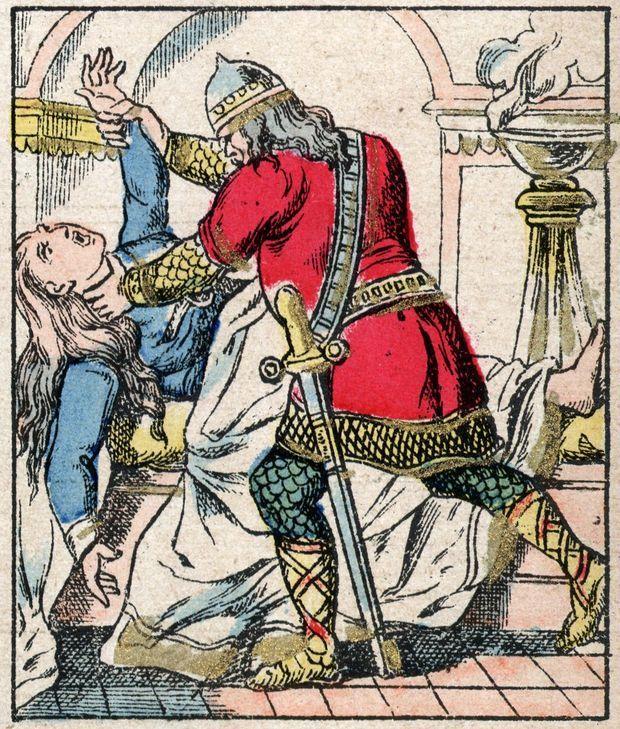 Le meurtre de Galswinthe, reine de Neustrie, dessin de Jules Pacher (fin XIXe siècle)