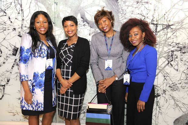 Femmes d'affaires présentes à la cinquième édition du CEO Africa Forum de Genève. (De gauche à droite) Valérie Neim, Ele Azu, Diane Chenal et Ghislaine Tessa.