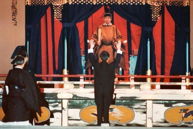 L'empereur Akihito lors des cérémonies de son accession au trône, le 12 novembre 1990