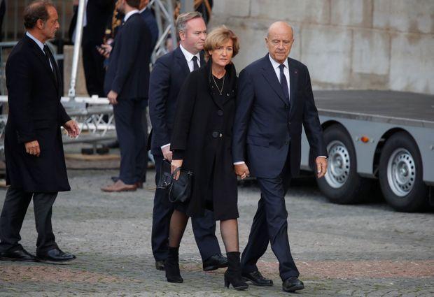 Alain Juppé et son épouse Isabelle et l'acteur Vincent Lindon à l'église Saint-Sulpice.
