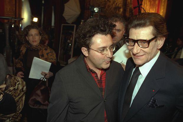 Alber Elbaz et Yves Saint Laurent, défilé haute-couture printemps été, janvier 1999.