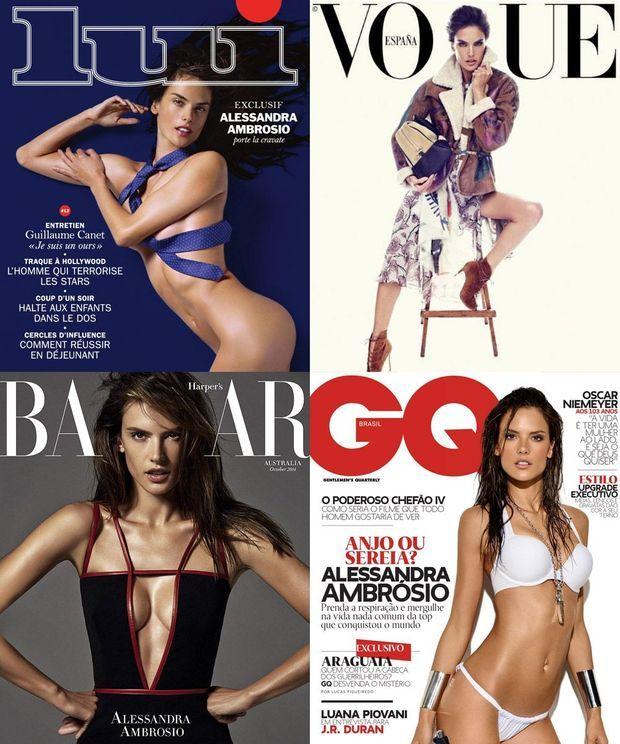"""Alessandra Ambrosio en Une de """"GQ"""", """"Lui"""", """"Harper's Bazaar"""" et """"Vogue"""""""