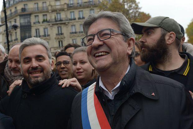 Mathilde Panot, entre Alexis Corbière et Jean-Luc Mélenchon, lors de la marche contre l'islamophobie, le 10 novembre 2019.