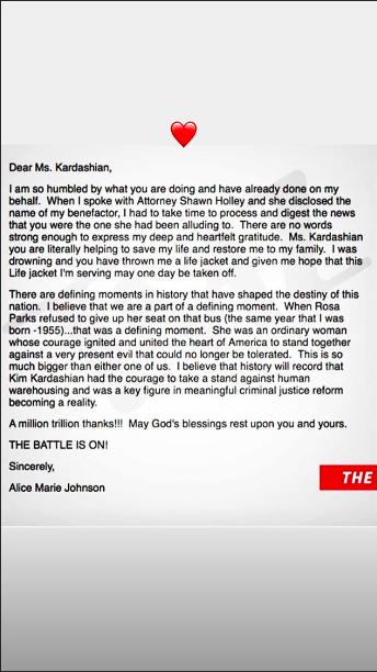 Le message d'Alice Marie Johnson à Kim Kardashian