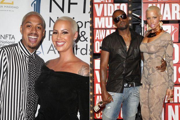 Amber Rose : à gauche en 2018 avec son compagnon actuel Alexander Edwards, à droite en 2009 avec Kanye West.