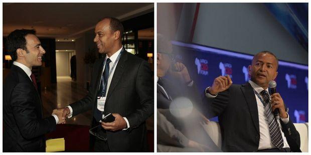 """A gauche, le président de l'Africa CEO Forum, Amir Ben Yahmed accueille Thierry Tanoh, Secrétaire adjoint de la Présidence de la Cote d'Ivoire. A dte, l'entrepreneur et homme politique congolais Moïse Katumbi consacré """"personnalité de l'année 2015"""" par les lecteurs du magazine Jeune Afrique."""