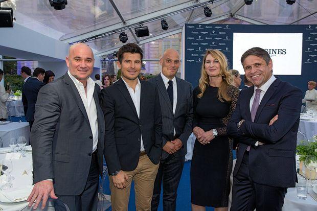 Andre Agassi, Vincent Niclo, Frédéric Bondoux, directeur de Longines France, Stefanie Graf, Juan Carlos Capelli.