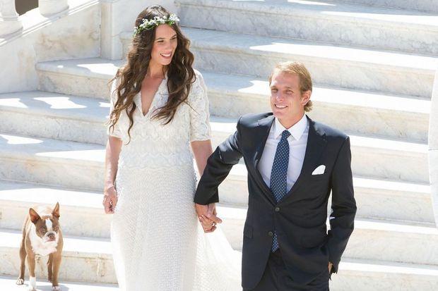Tatiana et Andrea lors de leur mariage civil, cet été à Monaco.