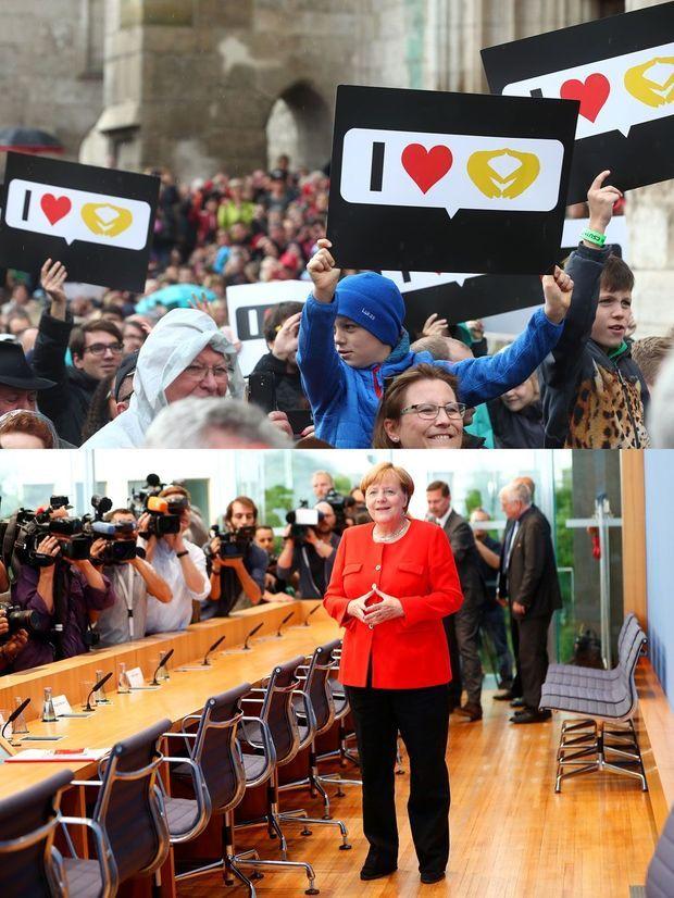 """En haut, des partisans d'Angela Merkel brandissent des pancartes reprenant le fameux """"rhombus"""" de la chancelière, le 18 septembre à Ratisbonne. En bas, Angela Merkel fait le geste, le 29 août lors d'une conférence de presse à Berlin."""