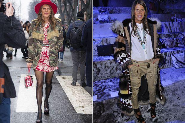 Anna Dello Russo aux défilés Armani et H&M.