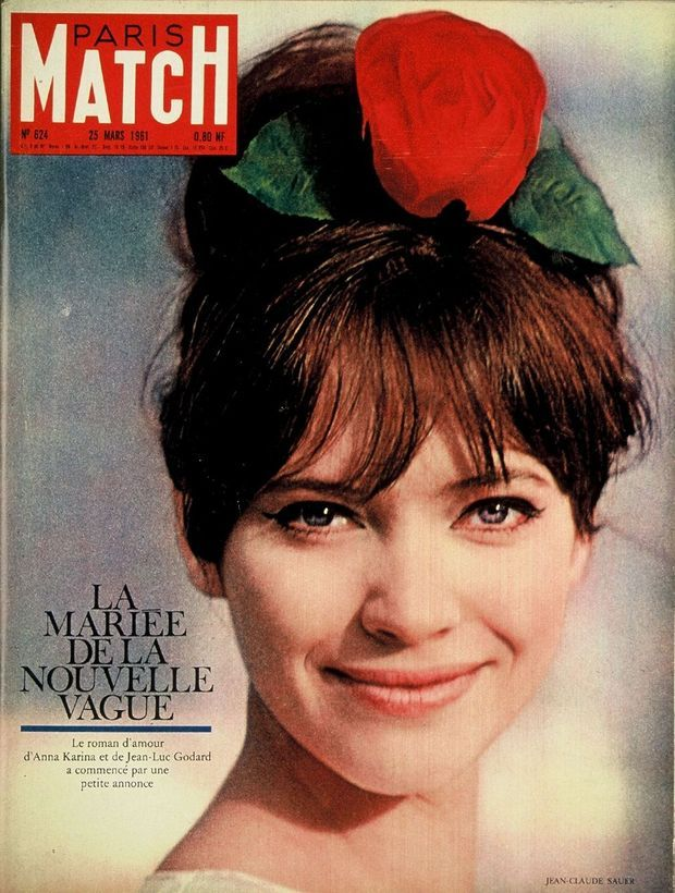 Anna Karina, la mariée de la Nouvelle Vague, en couverture de Paris Match n°624, daté 25 mars 1961.
