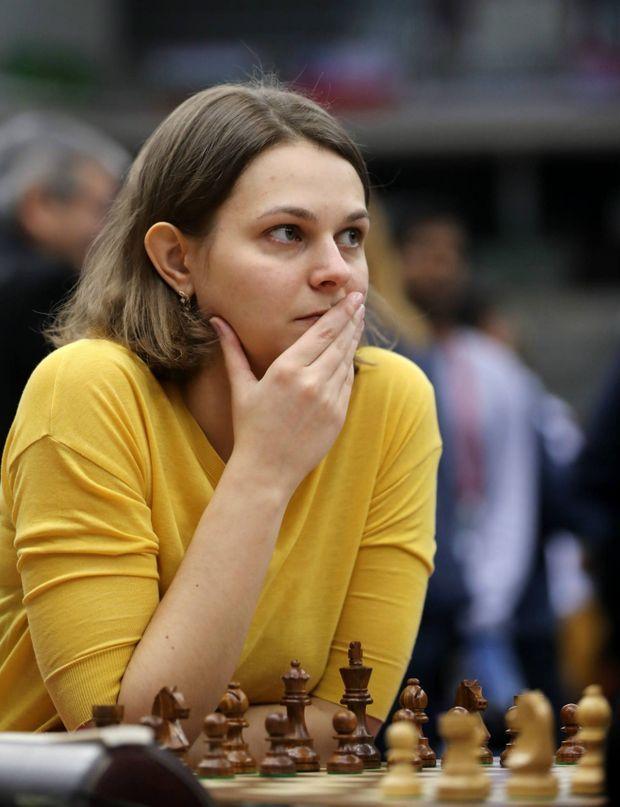 """Anna Muzychuk, Grand maitre international d'échecs lors du dernier """"World Chess rapid and blitz Championship"""" au Qatar, le 30 décembre 2016"""