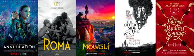 « Annihilation », d'Alex Garland, avec Natalie Portman (racheté à Paramount). « Roma », d'Alfonso Cuaron (exclusivité mondiale). « Mowgli. La légende de la jungle », d'Andy Serkis (racheté à Warner). « De l'autre côté du vent », film inachevé d'Orson Welles. « La ballade de Buster Scruggs », des frères Coen (série transformée en film). « Un 22 juillet », de Paul Greengrass sur l'attentat d'Utoya.