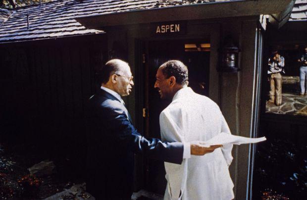 Anouar el-Sadate et Menahem Begin à Camp David, en septembre 1978.