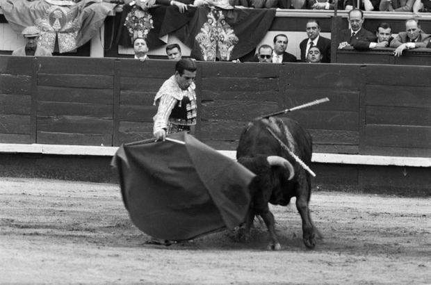 Le torero Antonio Ordonez dans les arènes de Las Ventas, photographié par Philippe Le Tellier lors de la Feria de San Isidro, à Madrid, en mai 1959.