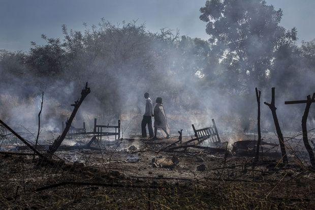 Après le bombardement du village de Kauda Sud Soudan. Novembre 2012