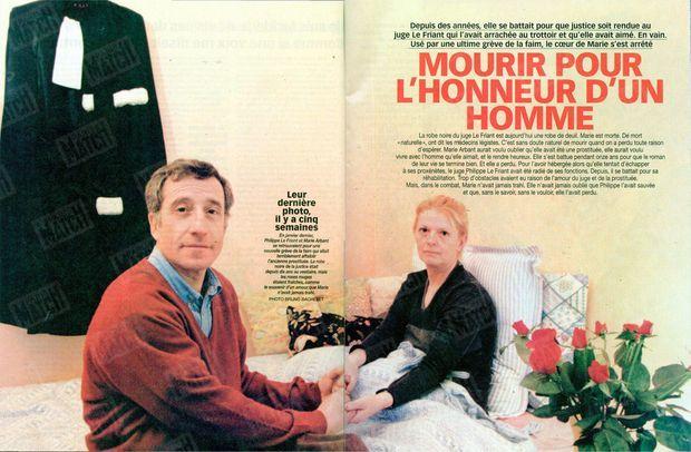 """""""Leur dernière photo, il y a cinq semaines. En janvier dernier, Philippe Le Priant et Marie Arbant se retrouvaient pour une nouvelle grève de la faim qui allait terriblement affaiblir l'ancienne prostituée. La robe noire de la justice était depuis dix ans au vestiaire, niais les roses rouges étaient fraîches, comme le souvenir d'un amour que Marie n'avait jamais trahi."""" - Paris Match n°2599, 18 mars 1999."""