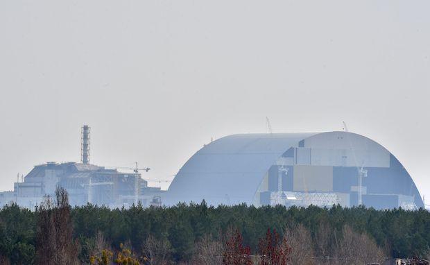 L'arche en construction près de la centrale de Tchernobyl, en avril dernier.