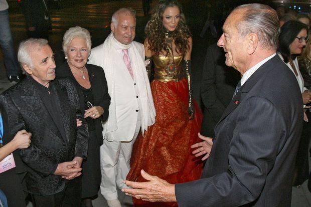 Charles Aznavour, Line Renaud, Jean-Claude Brialy et Jacques Chirac en September 2006 à Erevan.
