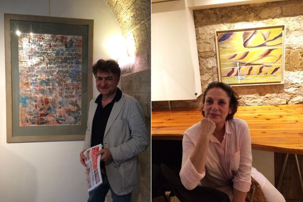 A gauche : le galeriste et peintre Ali Jamshiri, à droite : l'artiste Homeira Sadeghi