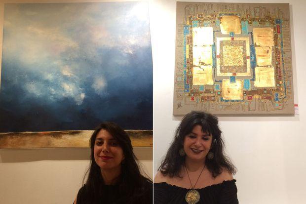 A gauche : l'artiste Kamelia Marandi, à droite : l'artiste Negin Rouhbakhsh