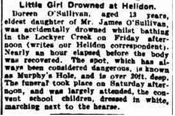 La coupure de presse évoquant le décès de la petite Doreen en 1913.