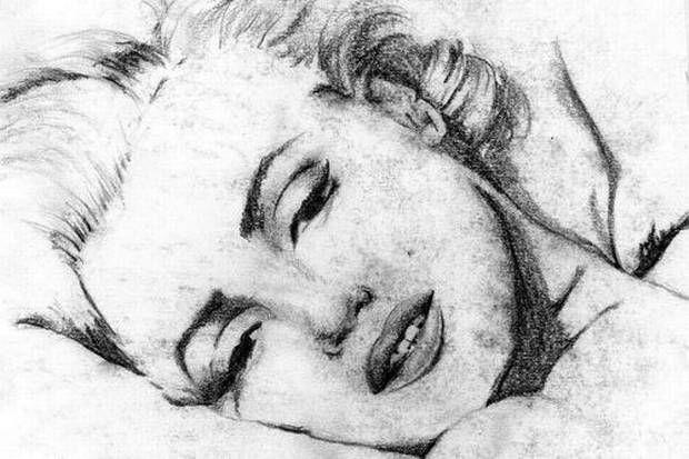"""Un portrait de Marilyn Monroe réalisé """"les yeux fermés"""" par Lee Hadwin."""