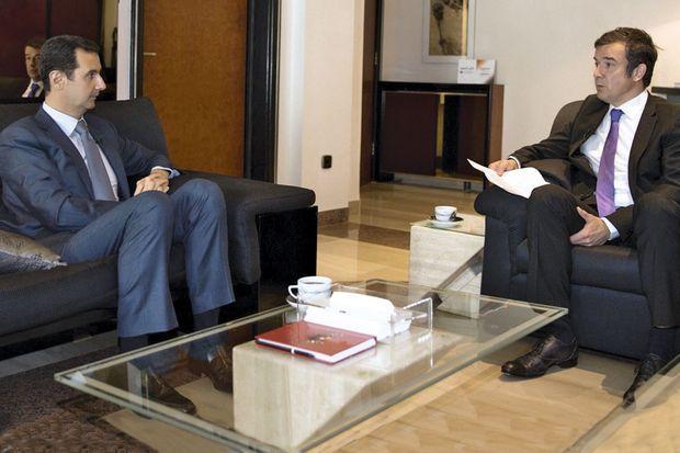 Bashar al-Assad and Paris Match reporter Régis Le Sommier