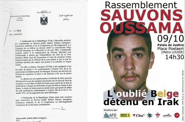 A g., document irakien de 2007 prouvant l'intervention du gouvernement belge en faveur de son extradition, qui aura lieu en 2008. L'affiche de la campagne de 2010 lancée par la famille d'Atar et relayée par Amnesty International.