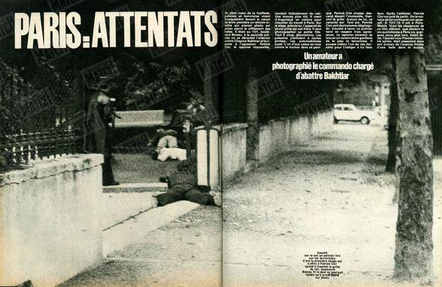 « Couché sur le sol, un policier tire sur les terroristes. C'est la première image qui s'offre à Patrick Cior quand il franchit la grille du 101, boulevard Bineau. Et le duel se poursuit tandis qu'il prend photo sur photo. » - Paris Match n°1627, 1er août 1980