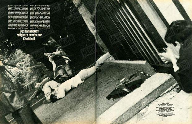 « Dès le début de la fusillade, le gardien de faction a demandé des renforts au commissariat de Neuilly. Il braque sa mitraillette sur les terroristes dès qu'ils sortent. L'un d'eux fait mine d'empoigner son pistolet. L'agent tire sur lui et le blesse, les autres demandent grâce. » - Paris Match n°1627, 1er août 1980