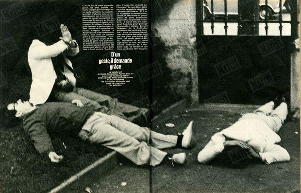 « La bataille est terminée. Impassible, Patrick Cior n'a pas cessé de photographier tandis que les balles sifflaient autour de lui. Maintenant les terroristes désarmés sont tenus en respect par les policiers. » - Paris Match n°1627, 1er août 1980