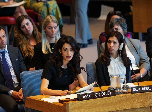 Au Conseil de sécurité de l'Onu, le 24 avril. A droite, Nadia Murad.