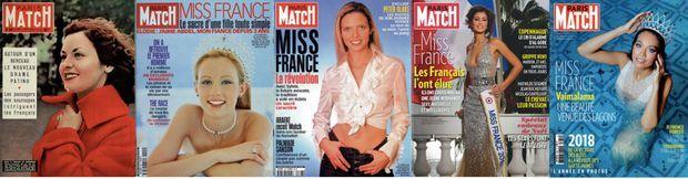 Au fil des Miss : de g. à dr., Sylviane Carpentier en 1953, Elodie Gossuin en 2001, Sylvie Tellier en 2002, Malika Ménard en 2010 et Vaimalama Chaves en 2019.