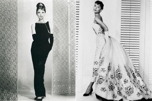 """Audrey Hepburn en Givenchy dans """"Diamants sur canapé."""" A d.: pour « Sabrina » en 1954"""