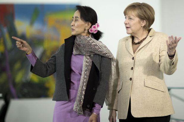 Aung San Suu Kyi et Angela Merkel à la chancellerie, la semaine dernière.
