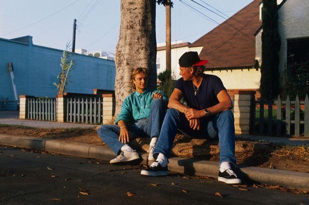 Avec David, son fils, en 1988, à Los Angeles.