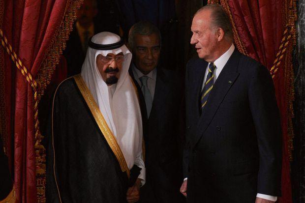 Avec le roi Abdallah d'Arabie saoudite au palais royal de Madrid, le 15 juillet 2008.