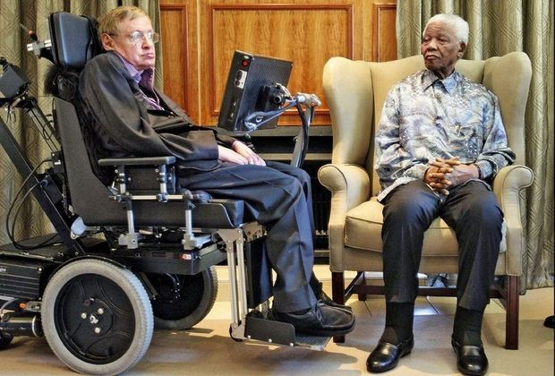Avec Nelson Mandela en 2008.
