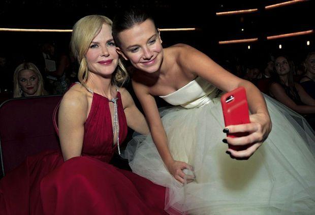 Avec Nicole Kidman aux Emmy Awards en septembre 2017, où elle a été sacrée meilleure actrice de série.