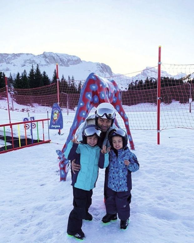 Le 1er janvier, avec ses deux fils, Liam, 3 ans, et Josh, 5 ans, après un cours en famille