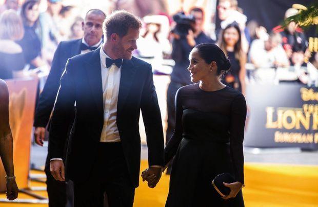 Avec son prince, à la première cinématographique du « Roi lion », à Londres, le 14 juillet.