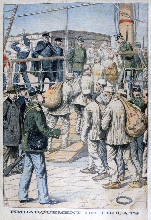 """""""Embarquement des forçats"""", illustration du """"Petit Journal"""", datée du 3 janvier 1904."""