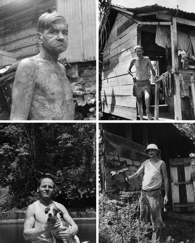 """Portraits de """"libérés"""" en 1955 : Une fois libéré, tout condamné à une peine de plus de cinq ans de travaux forcés devait demeurer en Guyane pour une période égale à la durée de sa peine. En 1938, à la suppression des bagnes, les détenus ont dû achever leur peine sur place. En outre, ces """"libérés"""" n'avaient pas les moyens de regagner la métropole, et souvent, personne à y retrouver..."""