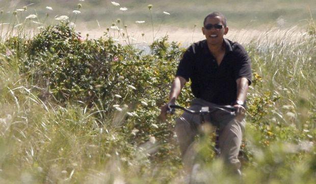 Barack Obama à vélo-