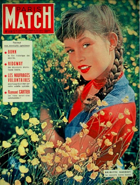 En juin 1952, pour sa deuxième couverture de Paris Match : « La nouvelle Leslie Caron », titre le magazine. À l'intérieur, un reportage à Louveciennes, la maison de campagne du clan Bardot.