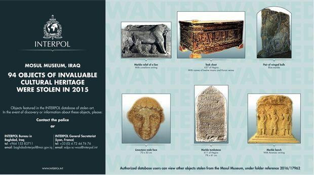 Base de données d'Interpol des antiquités volées au musée de Mossoul, en Irak.