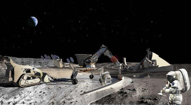 La Terre au loin et l'imprimante 3D de Contour Crofting sur la Lune, établissant la première base permanente. Un projet sur lequel planche très sérieusement la Nasa.