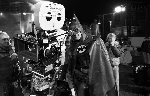 Michael Keaton sur le tournage de «Batman», réalisé par Tim Burton en 1989.